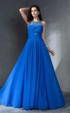 Light Royal Blue Chiffon Halter Floor-length A-line Prom Dress(JT2542)
