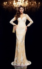 Champagne Lace Illusion Long Sleeve Floor-length Mermaid Evening Dress(JT2546)