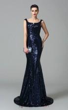 Dark Navy Sequined Scoop Sweep Train Mermaid Wedding Formal Dress(JT2547)