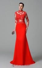 Ruby Lace Chiffon High Neck Long Sleeve Sweep Train Mermaid Wedding Formal Dress(JT2548)