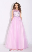 Candy Pink Tulle Illusion Floor-length A-line Prom Dress(JT2555)