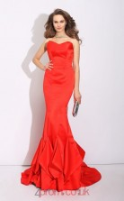 Orange Red Satin Sweetheart Sweep Train Mermaid Evening Dress(JT2557)