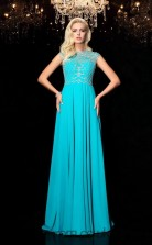 Jade Chiffon Jewel Short Sleeve Floor-length A-line Prom Dress(JT2558)