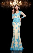 Pool Lace V-neck Long Sleeve Floor-length Mermaid Evening Dress(JT2560)