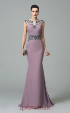 Purple Satin Chiffon Bateau Short Sleeve Floor-length Mermaid Evening Dress(JT2562)