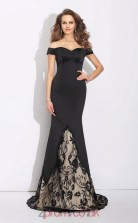 Black Lace Satin Chiffon Off The Shoulder Short Sleeve Sweep Train Mermaid Evening Dress(JT2565)