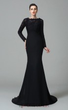 Black Chiffon Bateau Long Sleeve Sweep Train Mermaid Wedding Formal Dress(JT2567)