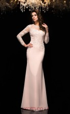Beige Chiffon Illusion Long Sleeve Floor-length Mermaid Evening Dress(JT2568)