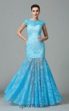 Light Blue Lace Bateau Floor-length Trumpet Evening Dress(JT2570)