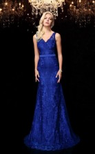 Royal Blue Lace V-neck Floor-length Mermaid Prom Dress(JT2571)