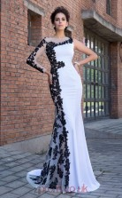 White Lace Satin Chiffon Bateau Long Sleeve Sweep Train Mermaid Evening Dress(JT2573)
