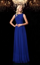 Royal Blue Chiffon Bateau Floor-length A-line Wedding Formal Dress(JT2575)