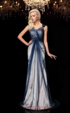 Ink Blue Tulle V-neck Sweep Train Mermaid Wedding Formal Dress(JT2576)