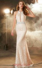 Pearl Pink Lace Asymmetric Floor-length Mermaid Evening Dress(JT2583)