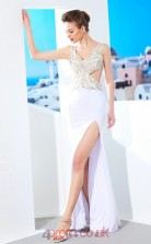 Side Split White Chiffon Halter Floor-length Mermaid Prom Dress(JT2584)