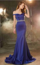 Blue Satin Chiffon Sweetheart Sweep Train Mermaid Prom Dress(JT2586)