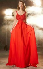 Orange Red Chiffon Off The Shoulder Floor-length A-line Prom Dress(JT2587)