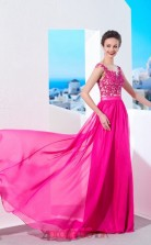 Fuchsia Chiffon Lace Halter Short Sleeve Floor-length A-line Wedding Formal Dress(JT2589)