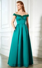 Sea Green Satin Off The Shoulder Short Sleeve Floor-length A-line Wedding Formal Dress(JT2592)