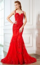 Ruby Lace Tulle Illusion Sweep Train Trumpe Prom Dress(JT2596)