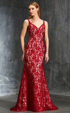 Burgundy Lace V-neck Floor-length Mermaid Evening Dress(JT2597)