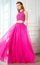 Fuchsia Chiffon Halter Floor-length A-line Two Piece Prom Dress(JT2598)