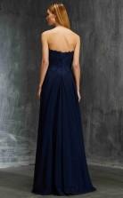 A-line Chiffon Navy Blue Strapless Floor-length Formal Prom Dress(JT2603)