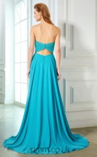 A-line Chiffon Deep Sky Blue Strapless Long Evening Dress(JT2606)