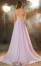 A-line Chiffon Lilac Illusion Long Evening Dress with Split Side(JT2608)