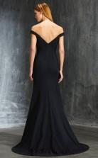 Trumpet/Mermaid Satin Chiffon Black Off The Shoulder Short Sleeve Floor-length Formal Prom Dress(JT2609)