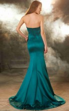 Trumpet/Mermaid Satin Ink Blue Sweetheart Long Formal Prom Dress(JT2614)
