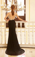 Trumpet/Mermaid Spandex Black V-neck Long Evening Dress with Split Side(JT2624)