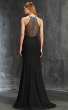 Trumpet/Mermaid Satin Chiffon Black Halter Floor-length Formal Prom Dress(JT2628)