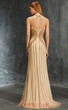 Trumpet/Mermaid Tulle Lace Champagne Halter Floor-length Evening Dress(JT2631)