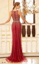 Trumpet/Mermaid Tulle Lace Burgundy Jewel Long Evening Dress(JT2637)