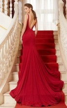 Trumpet/Mermaid Satin Chiffon Red Jewel Long Formal Prom Dress(JT2639)