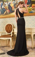 Trumpet/Mermaid Spandex Black Halter Long Evening Dress(JT2644)