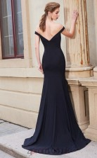 Trumpet/Mermaid Matte Satin Black Off The Shoulder Long Formal Prom Dress(JT2646)
