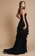 Princess Chiffon Black Sweetheart Long Evening Dress(JT2655)