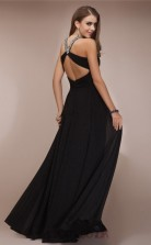 A-line Chiffon Black Halter Floor-length Formal Prom Dress(JT2656)
