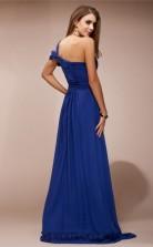 A-line Chiffon Blue One Shoulder Floor-length Formal Prom Dress(JT2658)