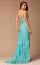 A-line Chiffon Deep Sky Blue Sweetheart Floor-length Prom Dress(JT2660)