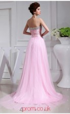 A-line Tulle Candy Pink Strapless Long Evening Dress(JT2662)