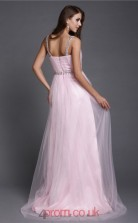 A-line Tulle Blushing Pink Straps Floor-length Formal Prom Dress(JT2670)