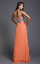 A-line Chiffon Salmon One Shoulder Floor-length Evening Dress with Split Side(JT2671)