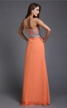 A-line Chiffon Salmon One Shoulder Floor-length Evening Dress with Split Side(JT2671)