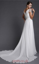 A-line Chiffon Ivory Off The Shoulder Short Sleeve Floor-length Evening Dress(JT2674)