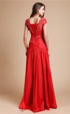 Trumpet/Mermaid Stretch Satin Red Scoop Short Sleeve Floor-length Evening Dress(JT2676)