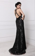 Trumpet/Mermaid Lace Black V-neck Floor-length Evening Dress(JT2681)