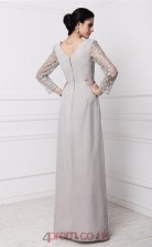 Sheath/Column Lace Chiffon Silver V-neck Long Sleeve Floor-length Formal Prom Dress(JT2683)